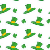 Seamless pattern for St.Patrick`s day. Shamrock and green hat on white background Royalty Free Stock Images