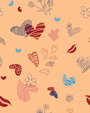 Seamless pattern for St. Valentine`s  Day. Seamless pattern composed of hearts, flowers, lips, and doodles Royalty Free Stock Image