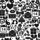 Seamless pattern St. Valentines Day. Dense ornament of monochrome icons. Royalty Free Stock Image