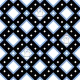 Seamless pattern with stacks of towering cups. In blue, black and white colors Royalty Free Stock Photos