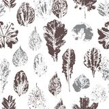 Seamless pattern with stamp leaves Royalty Free Stock Photography
