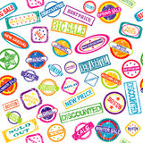 Seamless pattern with stamps with discount and sale messages Royalty Free Stock Photos