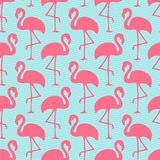 Seamless Pattern Flamingos Ans Waves Pink And Blue royalty free illustration