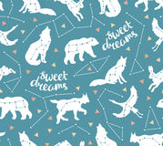 Seamless pattern with star animals. Vector hipster background with star sky. Fashion design for fabric. Royalty Free Stock Photos