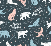 Seamless pattern with star animals. Vector hipster background with star sky. Stock Photo