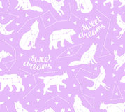 Seamless pattern with star animals. Vector hipster background with star sky. Royalty Free Stock Image