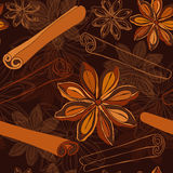 Seamless   pattern with   star anise and cinnamon sticks Royalty Free Stock Image