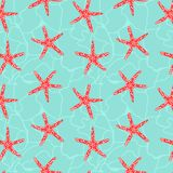 Seamless pattern with star fish. Stock Photo