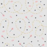 Seamless pattern of stardust and magic wands stock illustration