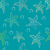 Seamless pattern with starfish Stock Images