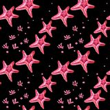 Seamless pattern with starfish and algae vector illustration