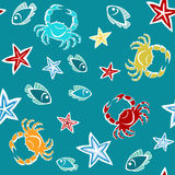 Seamless pattern with starfishes, crabs and fishes Royalty Free Stock Photo