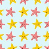 Seamless pattern with starfishes Cute nautical backgrounds. Marine life Background stock illustration