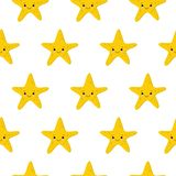 Seamless pattern with starfishes Cute nautical backgrounds. Marine life Background vector illustration