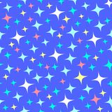 Seamless pattern with starlight sparkles, twinkling stars. Shining blue background. Night starry sky. Cartoon style. Seamless pattern with starlight sparkles stock illustration