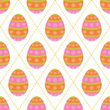 Seamless pattern of starry colorful easter eggs with dotted lines. Seamless pattern of starry colorful eggs with diamond shaped dotted lines on a white Stock Photo