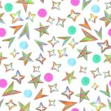 Seamless pattern Starry Sky painted with color pencils vector illustration
