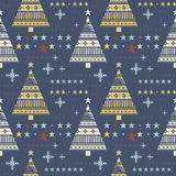 Seamless pattern with stars, christmas trees, snowflakes. Can be used for the New Year and Christmas greeting cards, sign boards, paper and textile Royalty Free Stock Photo