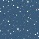 Seamless pattern with the stars, constellations Royalty Free Stock Photos