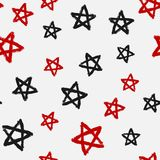 Seamless pattern with stars drawn by hand rough brush. Grunge, graffiti, sketch, watercolour. Modern vector illustration Royalty Free Stock Images