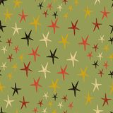 Seamless pattern with stars. Endless green background. Vector illustration. Stock Photography