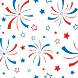 Seamless pattern with stars and firework. American Happy Independence Day. 4th of July. Vector wallpaper Royalty Free Stock Photo