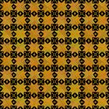 Seamless pattern stars flowers Ornament of Russian folk embroidery, yellow orange gold on black background. Can be used for. Fabrics, wallpapers, websites vector illustration