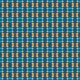Seamless pattern of stars and geometric shapes in white, orange and dark teal green colors on greenish-blue colored background. royalty free illustration