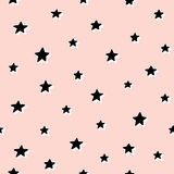 Seamless pattern with stars. Hand drawn vector illustration. Seamless pattern with black stars on pink background. Hand drawn vector illustration Royalty Free Stock Photos