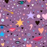 Seamless pattern with stars, hearts, lips, arrows, eyes. colorful and festive stock photo
