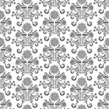 Seamless pattern with stars and leaves stock illustration