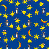 Seamless pattern with stars, moon and mice Royalty Free Stock Images