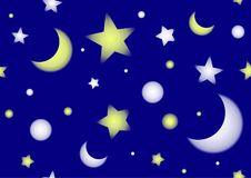 Seamless pattern with stars and moons. Seamless pattern with white and yellow stars and moons in the dark blue sky Stock Photo