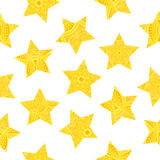 Seamless pattern, stars with patterns in trendy yellow colors. Vector illustration. Seamless pattern, stars with patterns in trendy yellow colors. Vector Royalty Free Stock Photos