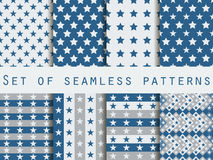 Seamless pattern with stars. A set of patterns. The pattern for wallpaper, bed linen, tiles, fabrics, backgrounds. Royalty Free Stock Photography