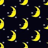 Seamless pattern with stars and sleeping moon Stock Photography