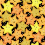 Seamless Pattern, Stars Smiley Royalty Free Stock Photo