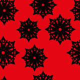Seamless pattern of stars and snowflakes. Fashion black and white seamless pattern, doily round, design stars elements Stock Images