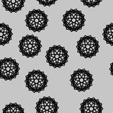 Seamless pattern of stars and snowflakes. Fashion black and white seamless pattern, doily round, design stars elements Stock Photos