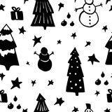 Seamless pattern with stars, spruces, snowman Stock Photography