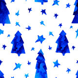 Seamless pattern with stars, spruces, snowman Royalty Free Stock Image