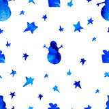 Seamless pattern with stars, spruces, snowman Stock Photos