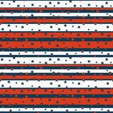 Seamless pattern with stars on stripes in blue, red and white colors stylized to the American flag.  stock illustration