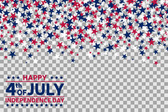 Seamless pattern with stars for 4th of July celebration on transparent background. Vector Illustration. Fourth of july background Stock Images