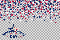 Seamless pattern with stars for 4th of July celebration on transparent background. Vector Illustration. Independence day usa Stock Photography