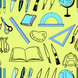 Seamless pattern of stationery for school green and blue.  Royalty Free Stock Images