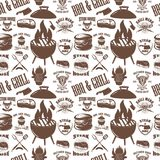 Seamless pattern with steak house symbols. Grill, bbq, fresh meat. Design element for poster, menu, flyer, banner, menu, package. Vector illustration Stock Image