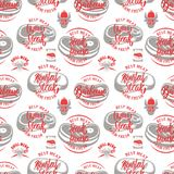 Seamless pattern with steak house symbols. Grill, bbq, fresh meat. Design element for poster, menu, flyer, banner, menu, package. Vector illustration Royalty Free Stock Photography