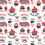 Seamless pattern with steak house symbols. Grill, bbq, fresh meat. Design element for poster, menu, flyer, banner, menu, package. Vector illustration Royalty Free Stock Photos