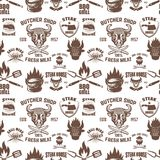 Seamless pattern with steak house symbols. Grill, bbq, fresh meat. Design element for poster, menu, flyer, banner, menu, package. Vector illustration Stock Images